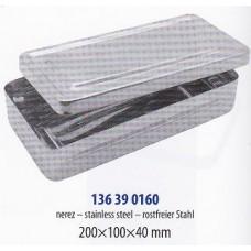 Kazeta zaoblená s víčkem bez úchopu, 20 x 10 x 4 cm nerez