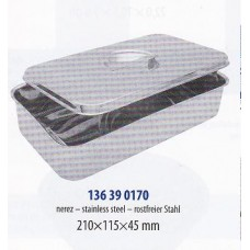 Kazeta zaoblená s rovným poklopem 22 x 12 x 4,5 cm nerez