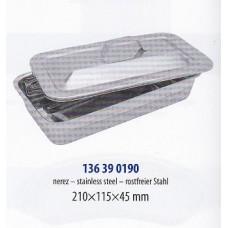 Kazeta zaoblená s vypouklým víkem 22 x 12 x 4,5 cm nerez